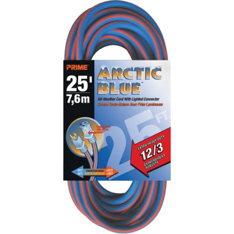 All-Weather Extension Cord - Arctic Blue™ - EXTRA HEAVY-DUTY-  Length: 25' - AWG: 12/3 - Case/Qty: 3