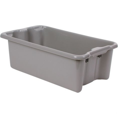 """Polylewton Stack-N-Nest® Containers - Grey - O.D. Top: 20.1""""Lx 13.0""""W - Case/Qty: 6"""