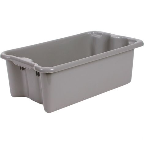 """Polylewton Stack-N-Nest® Containers - Grey - O.D. Top: 19.4""""L x 12.9""""W - Case/Qty: 4"""