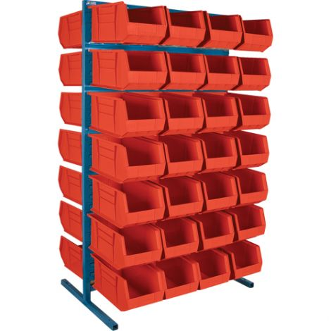 "Stationary Bin Racks - Double-Sided - Rack/Bin Combination - Colour: Red - 36""W x 24""D x 61""H"