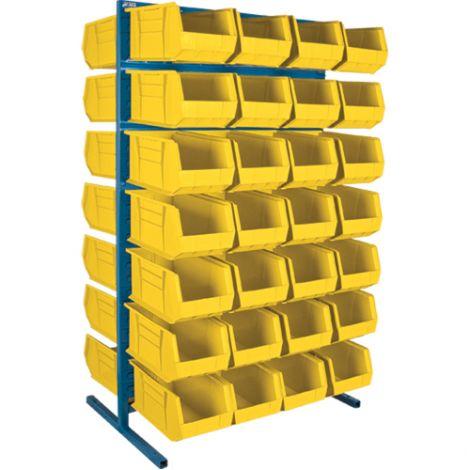 "Stationary Bin Racks - Double-Sided - Rack/Bin Combination - Colour: Yellow - 36""W x 24""D x 61""H"