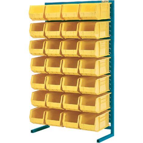 "Stationary Bin Racks - Single-Sided - Rack/Bin Combination - Colour: Yellow - 36""W x 12""D x 61""H"