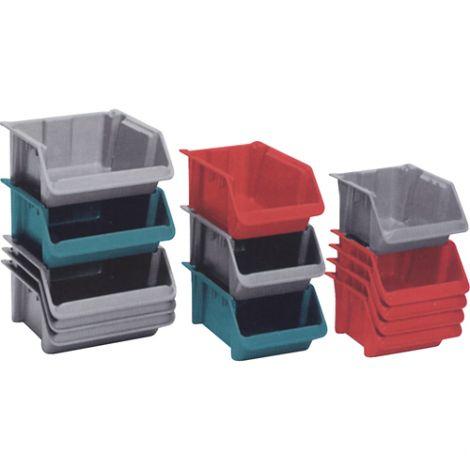 """Stack-N-Nest® Plexton Hoppers - 7.6""""H x 18.1""""L x 11.4""""W - Colour: Grey - Case Qty: 4"""