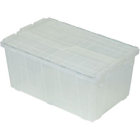 "Flipak® Clear Polypropylene Plastic (PP) Distribution Containers - 12.1""H  x 26.9""L x 16.9""W - Case/Qty: 3"