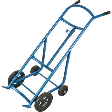 "Drum Hand Truck - Truck with 10"" front and 6"" rear rubber wheels"