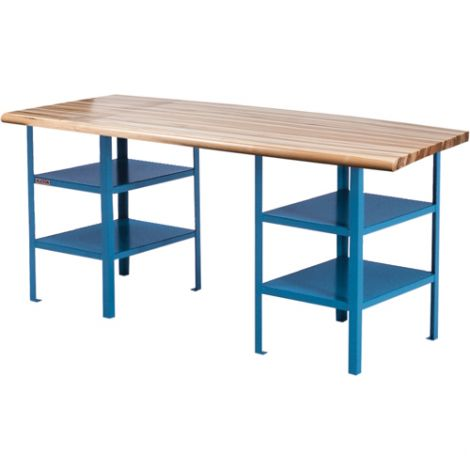 """Extra Heavy-Duty Workbenches - Pedestal Bench - Capacity: 2500 lbs. - Configuration: Shelf - Height: 34"""" - Width: 84"""""""