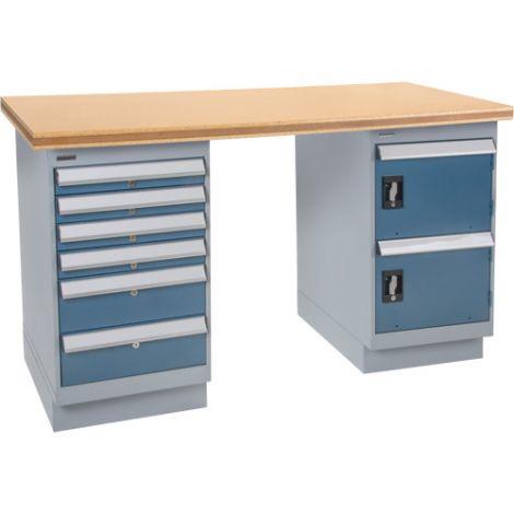"Workbenches - Configuration: Door & Drawers Pedestal - Height: 34"" - Width: 60"""