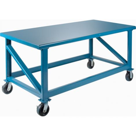 """Extra Heavy-Duty Workbenches - All-Welded - Mobile - Dimensions: 72""""W x 36""""D x 34""""H - Capacity: 3500 LBS."""