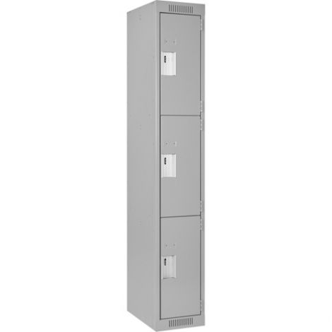 Assembled Clean Line™ Economy Lockers - Basic Style - No. of Tiers: 3 - Bank of: 1 - Ships Free