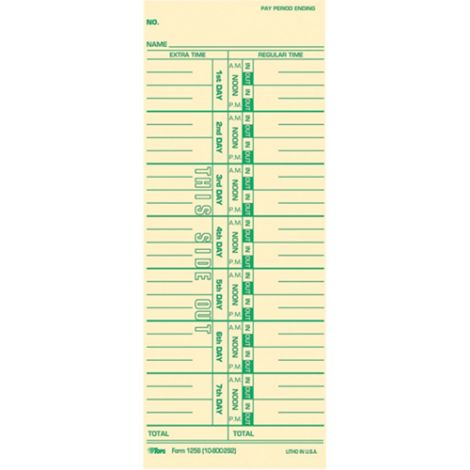 Time Clock Accessories - 1000 Time Cards, English