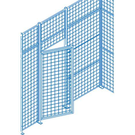 Heavy-Duty Swing Door w/ Wicket - Height: 7' - Width: 4' - Colour: Blue