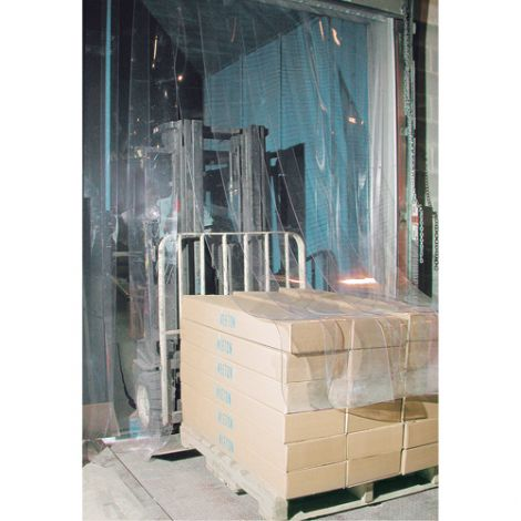 """Strip Curtain Doors - Door Height: 12' - Door Width: 12' - Strip Width: 12"""" - Strip Thickness: 0.120"""""""