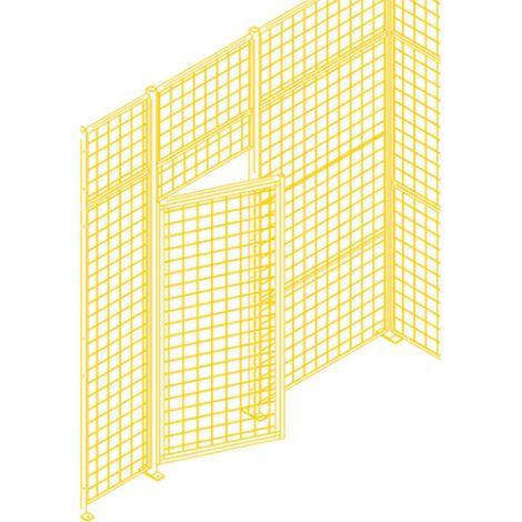 Heavy-Duty Swing Door w/ Wicket - Height: 7' - Width: 4' - Colour: Yellow