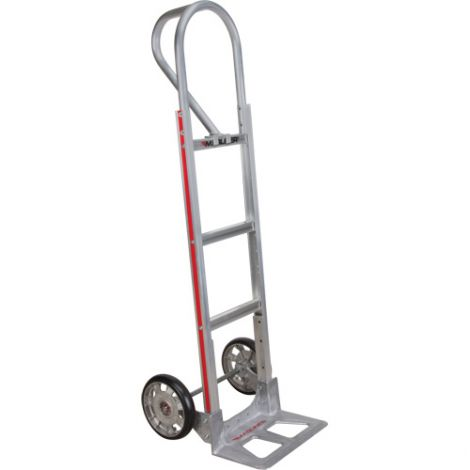 "Aluminum Hand Trucks - Handle Type: P-Handle - Nose Plate Dimensions: 14""W x 7-1/2""D - Wheel: Pneumatic"