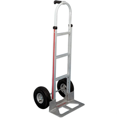"Aluminum Hand Trucks - Handle Type: Single Grip - Nose Plate Dimensions: 18""W x 7-1/2""D - Wheel: Pneumatic"