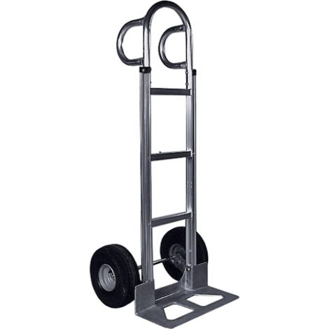 "Aluminum Hand Trucks - Handle Type: P-Handle - Nose Plate Dimensions: 18""W x 7-1/2""D - Wheel: Pneumatic"