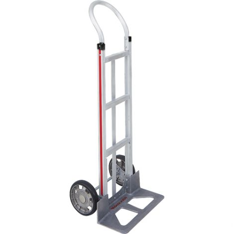 "Aluminum Hand Trucks - Handle Type: Continuous - Nose Plate Dimensions: 18""W x 7-1/2""D - Wheel: Mold on Rubber"