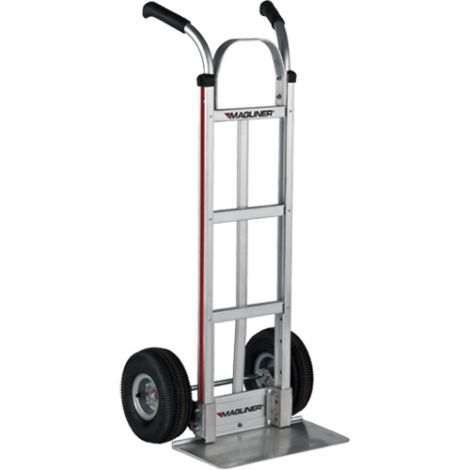 "Aluminum Hand Trucks - Handle Type: Dual Handle - Nose Plate Dimensions: 18""W x 9""D - Wheel: Pneumatic"