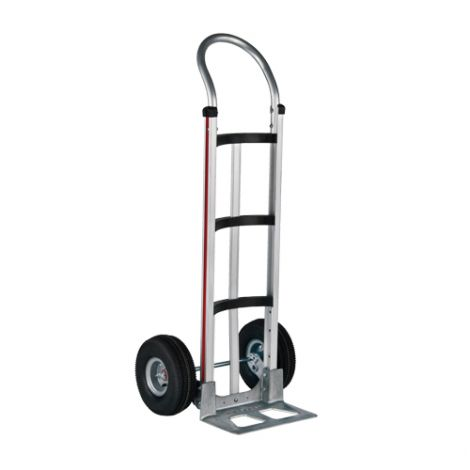 "Aluminum Hand Trucks - Handle Type: Continuous - Nose Plate Dimensions: 14""W x 7-1/2""D - Wheel: Pneumatic"