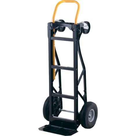"""Nylon Convertible Hand Trucks - Handle Type: Continuous - Nose Plate Dimensions: 14-1/2""""W x 7""""D - Wheel: Pneumatic"""