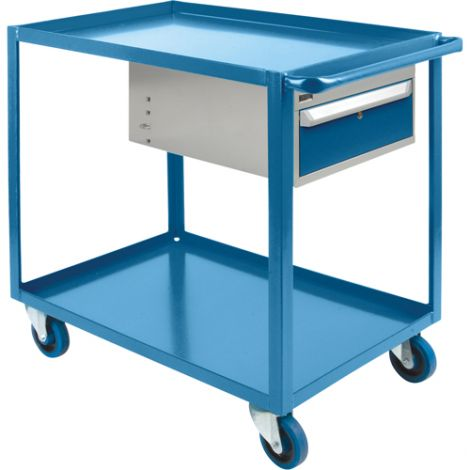 "Heavy Duty Shelf Cart with Drawer - Shelf Size: 24""W x 48""D - No. of Shelves: 3"