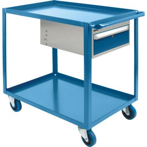 "Heavy Duty Shelf Cart with Drawer - Shelf Size: 24""W x 36""D - No. of Shelves: 2"