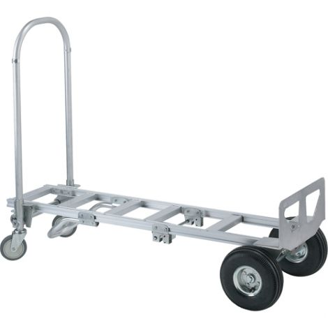 "Spartan Sr. Aluminum Economy Convertible Truck - Handle Type: Continuous - Nose Plate Dimensions: 18""W x 7-1/2""D - Wheel: Pneumatic"