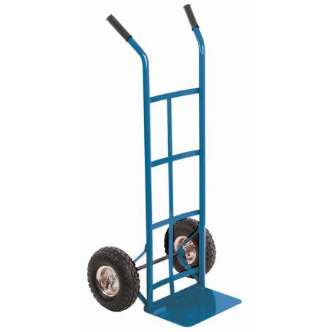 "Pneumatic Wheel Hand Truck (Steel) - Handle Type: Dual Handle - Nose Plate Dimension: 14""W x 10""D - Wheel: Pneumatic"