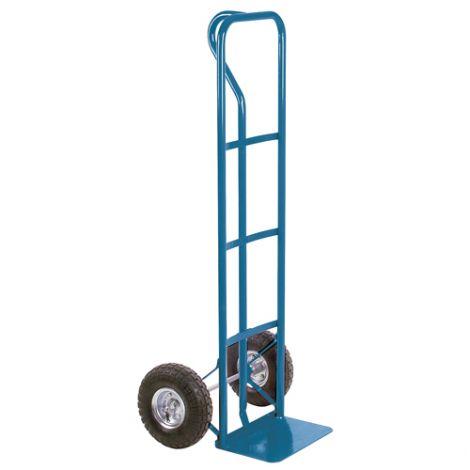 "Pneumatic Wheel Hand Truck (Steel) - Handle Type: P-Handle -Nose Plate Dimension: 14""W x 9""D - Wheel: Pneumatic"
