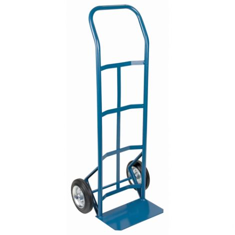 """Rubber Wheel Hand Truck (Steel) - Handle Type: Continuous Handle - Nose Plate Dimension: 14""""W x 8 1/2""""D - Wheel: Rubber"""