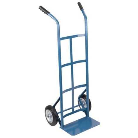 """Heavy-Duty Dual Handle Hand Truck (Steel) - Handle Type: Dual Handle - Nose Plate Dimension: 14""""W x 8""""D - Wheel: Pneumatic"""