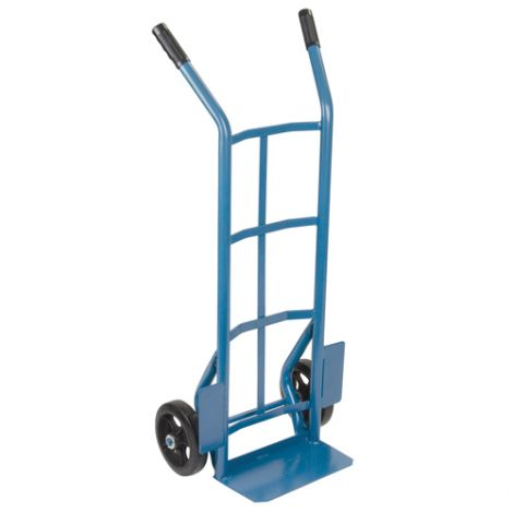 """Heavy-Duty Dual Handle Hand Truck (Steel) - Handle Type: Dual Handle - Nose Plate Dimension: 14""""W x 8""""D - Wheel: Rubber"""