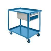 "Heavy Duty Shelf Cart with Drawer - Shelf Size: 24""W x 48""D - No. of Shelves: 2"