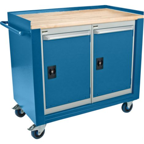 "Industrial Duty Mobile Service Benches - O.D.: 42""W x 24""D x 37""H - Configuration: 2 Doors"