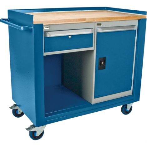 "Industrial Duty Mobile Service Benches - O.D.: 42""W x 24""D x 37""H - Configuration: Door & Drawer"