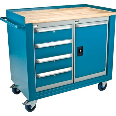"Industrial Duty Mobile Service Benches - O.D.: 42""W x 24""D x 37""H  Configuration: 1 Door & 4 Drawers"