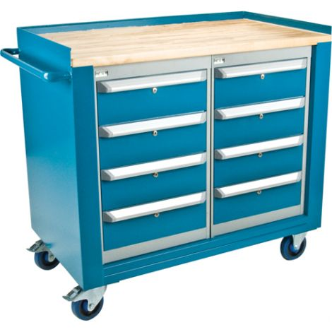 """Industrial Duty Mobile Service Benches - O.D.: 42""""W x 24""""D x 37""""H - Configuration: 8 Drawers"""