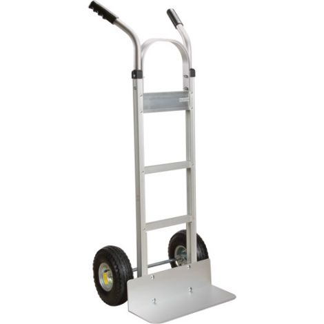 """Aluminum Hand Truck - Handle Type: Continuous Handle - Nose Plate: 18""""W x 7 1/2""""D - Wheel Material: Pneumatic"""