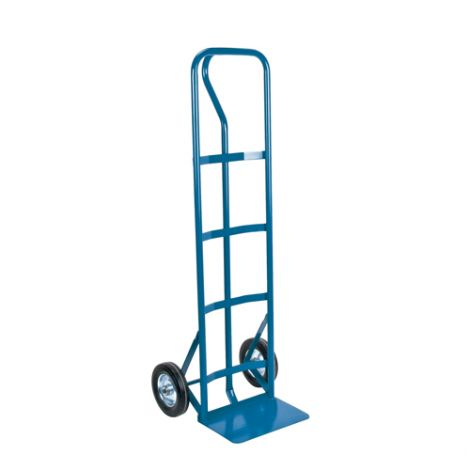 """Rubber Wheel Hand Truck (Steel) - Handle Type: P-Handle - Nose Plate Dimension: 14""""W x 9""""D - Wheel: Rubber"""