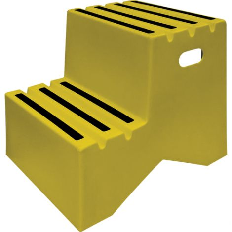 """Industrial Step Stool - No. of Steps: 2 - Overall Height: 20"""" - Overall Length: 22"""" - Overall Width: 21"""""""