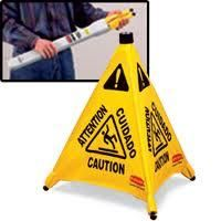 Pop-Up Safety Cone - Legend: Multi-Lingual Caution W/ Wet Floor Symbol - Height: 30""