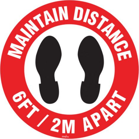 """Maintain Distance"" Floor Sign - 9"" Dia. - Height: Flat - Language: English with Pictogram - Material: Vinyl - Display Type: Adhesive - Case/Qty: 12"