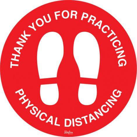 """""""Physical Distancing"""" Floor Sign - 9"""" Dia. - Height: Flat - Language: English with Pictogram - Material: Vinyl - Display Type: Adhesive - Case/Qty: 12"""