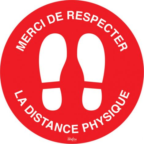 """Distance physique"" Floor Sign - 9"" Dia. - Height: Flat - Language: French with Pictogram - Material: Vinyl - Display Type: Adhesive - Case/Qty: 12"
