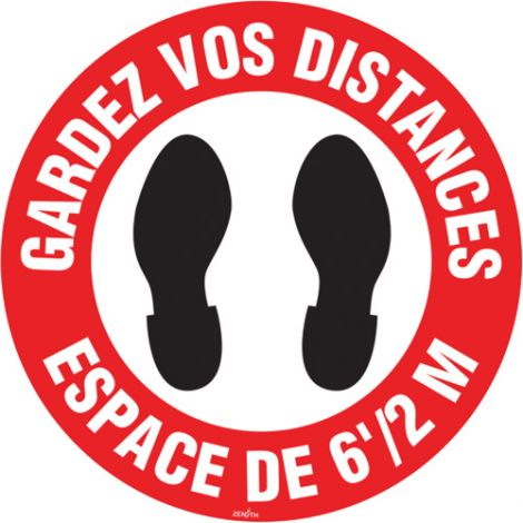 """Gardez vos distances"" Floor Sign - 9"" Dia. - Height: Flat - Language: French with Pictogram - Material: Vinyl - Display Type: Adhesive - Case/Qty: 12"