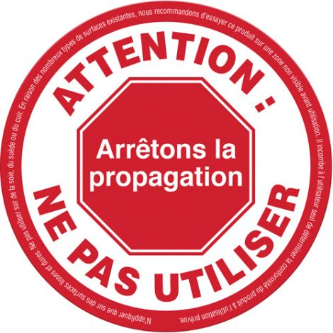 """""""Attention: Ne pas utiliser"""" Label - Material: Vinyl - Height: 5-1/8"""" - Width: 5-1/8"""" - Display Type: Adhesive - Pack: 25 - Case/Qty: 3 (75 Labels)"""