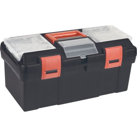 """Plastic Tool Box - Overall Depth: 9-1/2"""" - Overall Height: 8"""" - Overall Width: 17-1/2"""" - Colour: Black"""