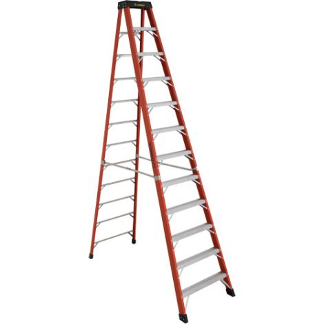 Industrial Extra Heavy-Duty Fibreglass Stepladders (6800 AA Series) - Nominal Height: 12'