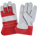 Split Cowhide Fitters, Superior Quality Gloves - Size: Large - Solid Colour Cotton and Rubberized Cuff - Case Quantity: 72