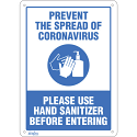 "Safety Signs - ""Prevent Coronavirus, Please Use Hand Sanitizer"" - Display Type: Bolt-On - Vinyl"